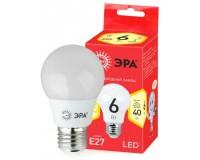 Лампа светодиодная Эра A55 6Вт 220-240В E27 2700K ECO, груша, пластик/металл, светоотдача 80 Лм/Вт , аналог 40 Вт