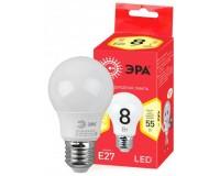 Лампа светодиодная Эра A55 8Вт 220-240В E27 2700K ECO, груша, пластик/металл, светоотдача 80 Лм/Вт, аналог 55 Вт