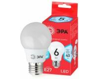 Лампа светодиодная Эра A55 6Вт 220-240В E27 4000K Red Line, груша, пластик/металл, светоотдача 80 Лм/Вт, аналог 40 Вт