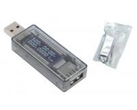 USB тестер Keweisi KWS-V21 измерение тока, напряжения, времени, заряда QC2.0, серый