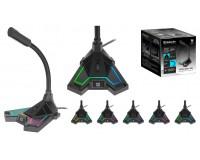 Микрофон Defender игровой стрим Pitch GMC 200 3, 5 мм, LED подсветка, всенаправленный микрофон, гибкая штанга, нескользящая каучуковая основа, кабель 1.5 м